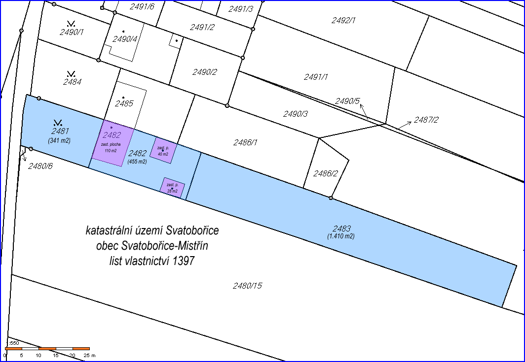 kopie katastrální mapy prodávaného domu v obci Svatobořice