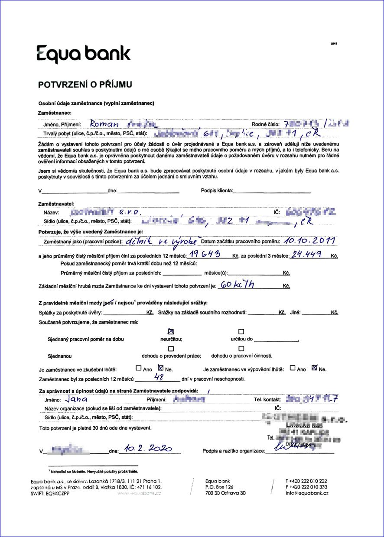 potvrzení o příjmu na formuláři Equabank
