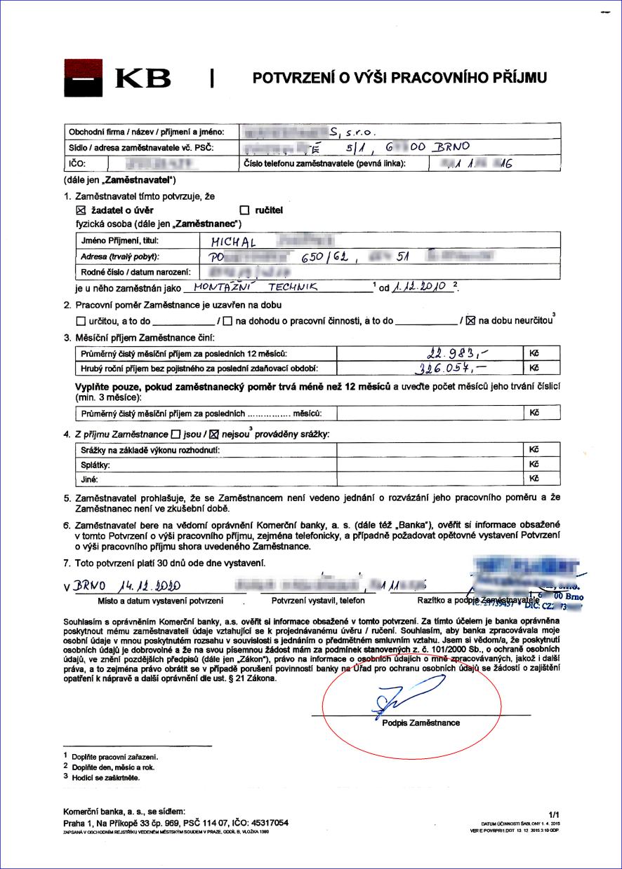 Potvrzení o příjmu na formuláři Komerční banky