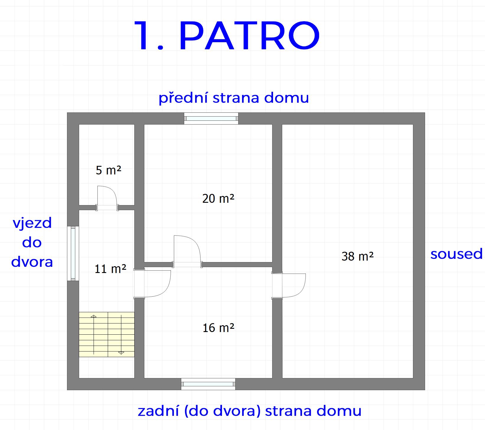 prodej domu ve Svatobořicích - půdorys 1. patra